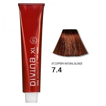 Краска для волос 7.4AT Divina. XL 120ml Русый медный для седины