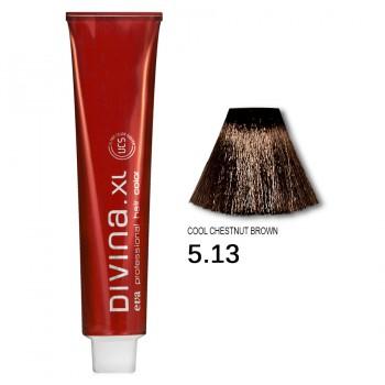 Краска для волос 5.13 Divina. XL 120ml Светлый шатен пепельно-золотистый