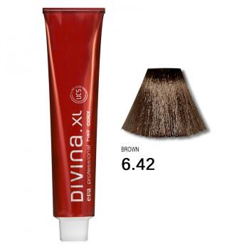 Краска для волос 6.42 Divina. XL 120ml Темно-русый холодный медный