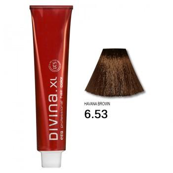 Краска для волос 6.53 Divina. XL 120ml Темно-русый красно-золотистый