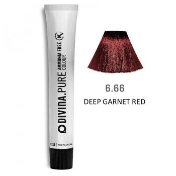 Краска для волос 6.66  Divina.Pure 60ml Темно-русый очень красный
