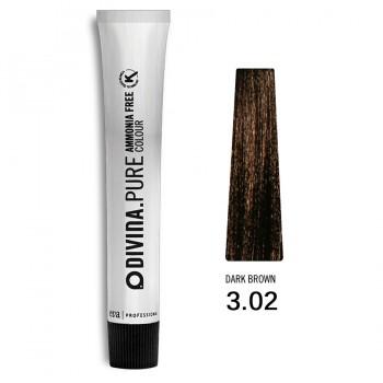 Краска для волос 3.02 Divina.Pure 60ml Темный шатен натуральный холодный коричневый