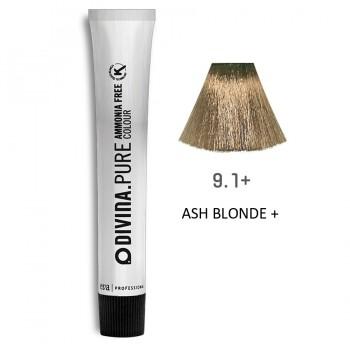 Краска для волос 9.1+ Divina.Pure 60ml Темный блондин пепельный для седины