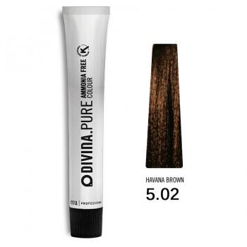 Краска для волос 5.02 Divina.Pure 60mll Светлый шатен натуральный холодный коричневый
