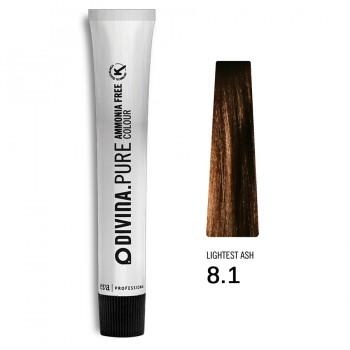 Краска для волос 8.1 Divina.Pure 60ml Светло-русый натуральный пепельный