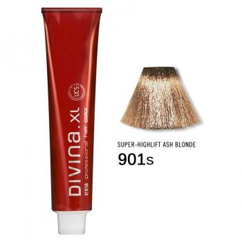 Краска для волос 901S Divina. XL 120ml Суперосветлитель натуральный пепельный
