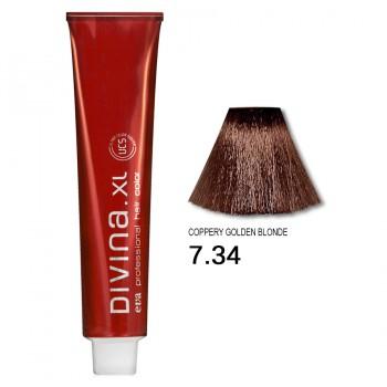 Краска для волос 7.34 Divina. XL 120ml Русый золотисто-медный