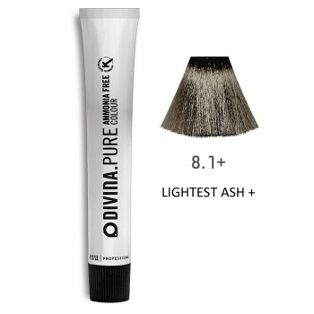 Краска для волос 8.1+ Divina.Pure 60ml Светло-русый пепельный для седины
