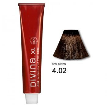Краска для волос 4.02  Divina. XL 120ml Шатен холодный коричневый