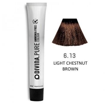 Краска для волос 6.13 Divina.Pure 60ml Темно-русый пепельно-золотыстый