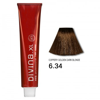 Краска для волос 6.34 Divina. XL 120ml Темно-русый золотисто-медный