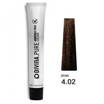 Краска для волос 4.02  Divina.Pure 60ml Шатен натуральный холодный коричневый