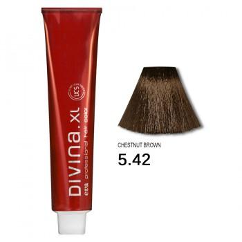 Краска для волос 5.42 Divina. XL 120ml Светлый шатен холодный медный