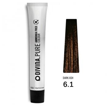 Краска для волос 6.1 Divina.Pure 60ml Темно-русый пепельный