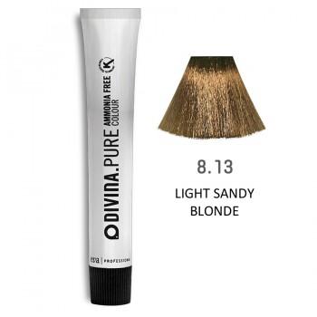 Краска для волос 8.13 Divina.Pure 60ml Светло-русый пепельно-золотистый